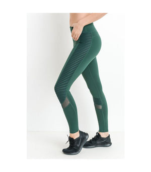 Moto Glide Mesh Leggings Hunter Green