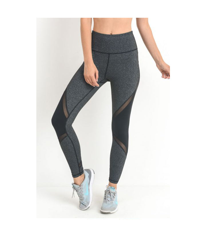 Highwaist Slanted Mesh Performance Leggings