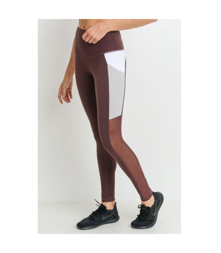 Highwaist Mesh Colorblock Deep Pocket Leggings Orchid