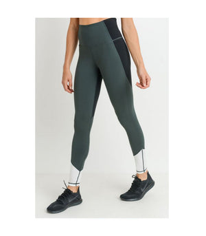 Highwaist Triple Slant Colorblock Leggings