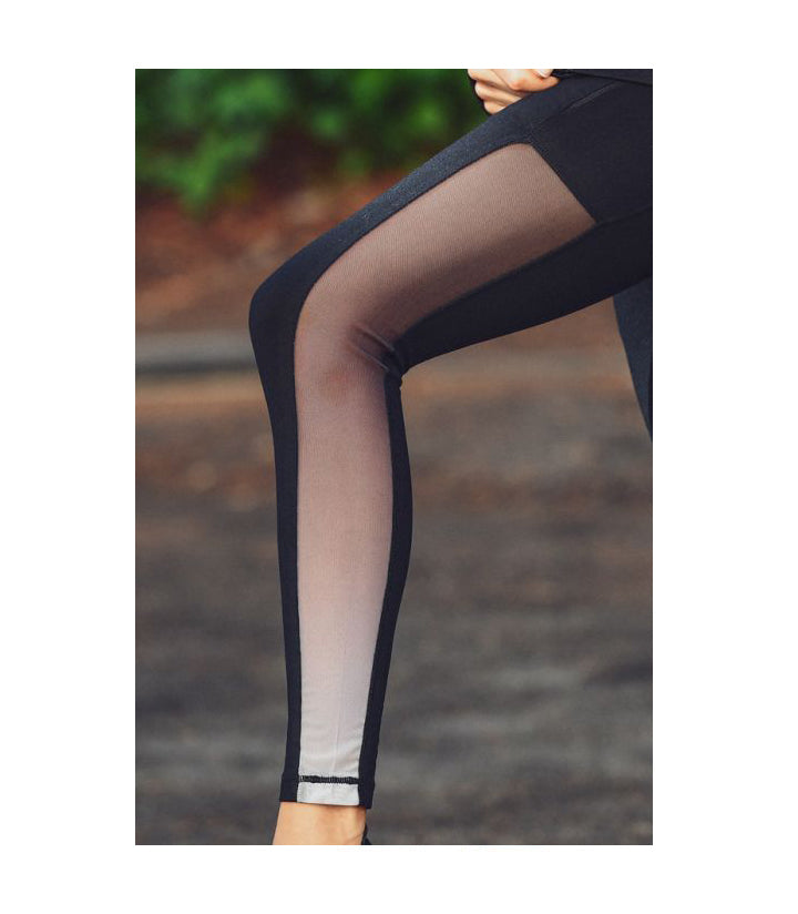 Highwaist Ombre Mesh Leggings with Zippered Side Pockets