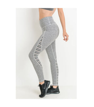 Highwaist Woven and Trellis Mesh Combo Leggings