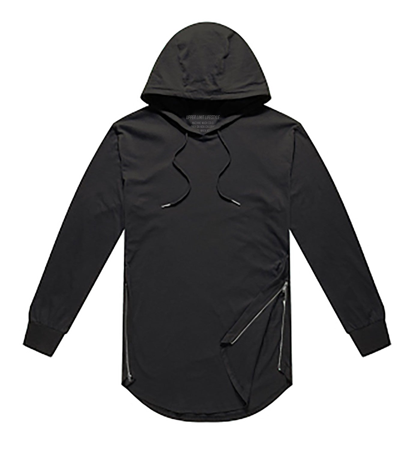 Performance Curved Hem Hoodie Long Sleeve Black