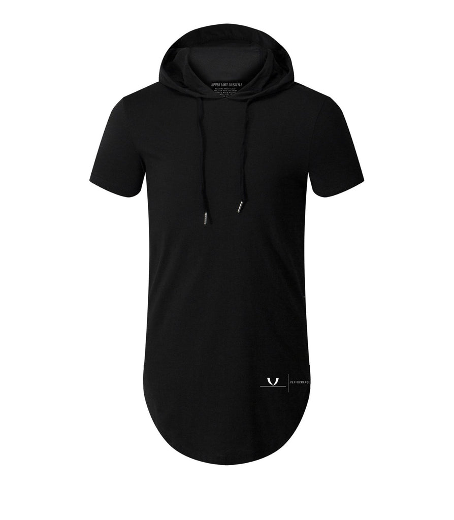 Performance Curved Hem Hoodie Short Sleeve Black