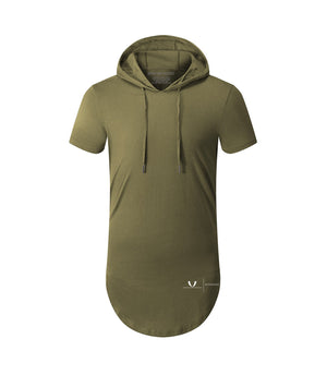 Performance Curved Hem Hoodie Short Sleeve Olive