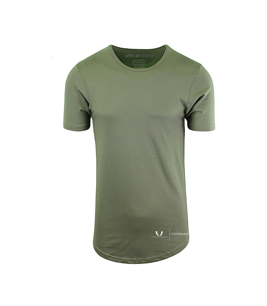 Performance Olive Curved Hem T-Shirt