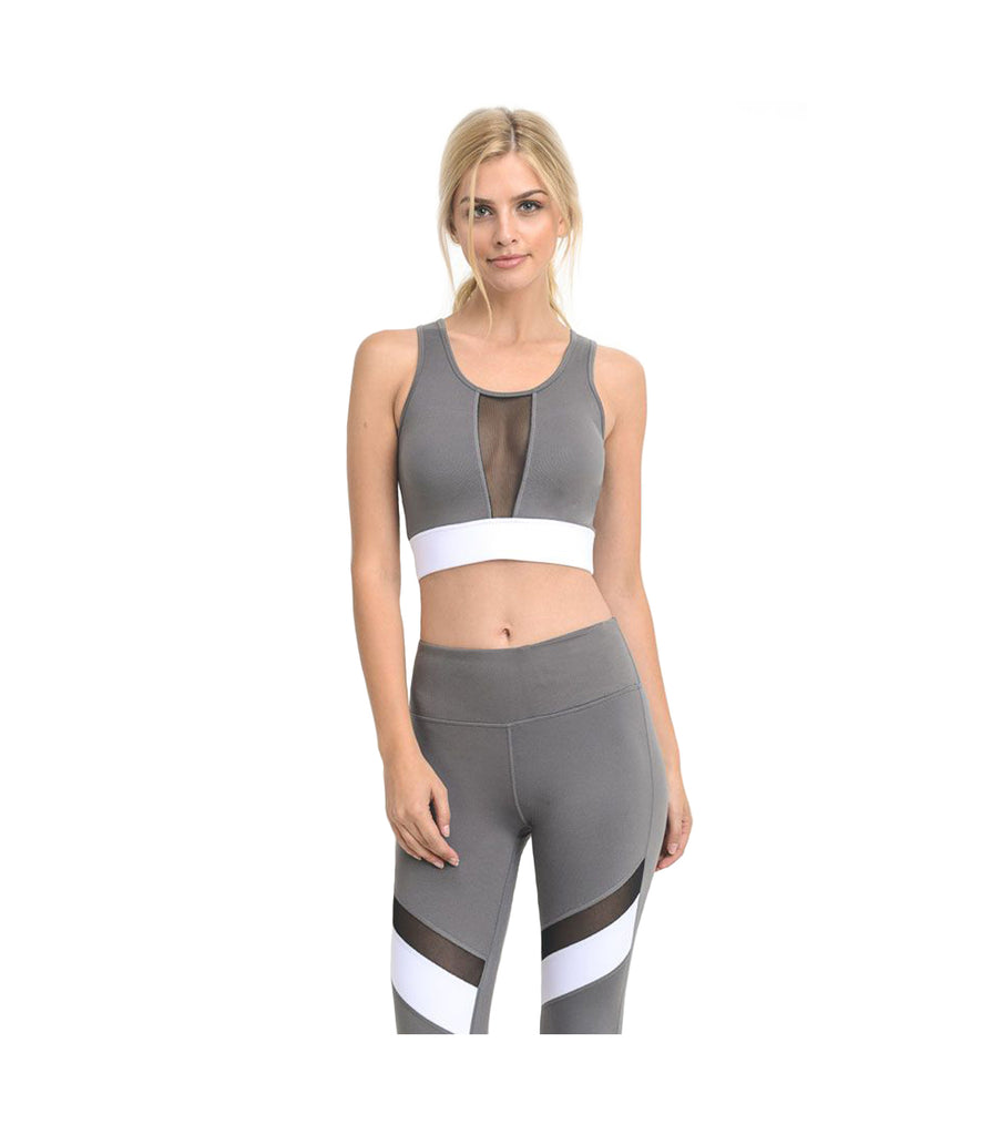Block Mesh Performance Crop Top Grey