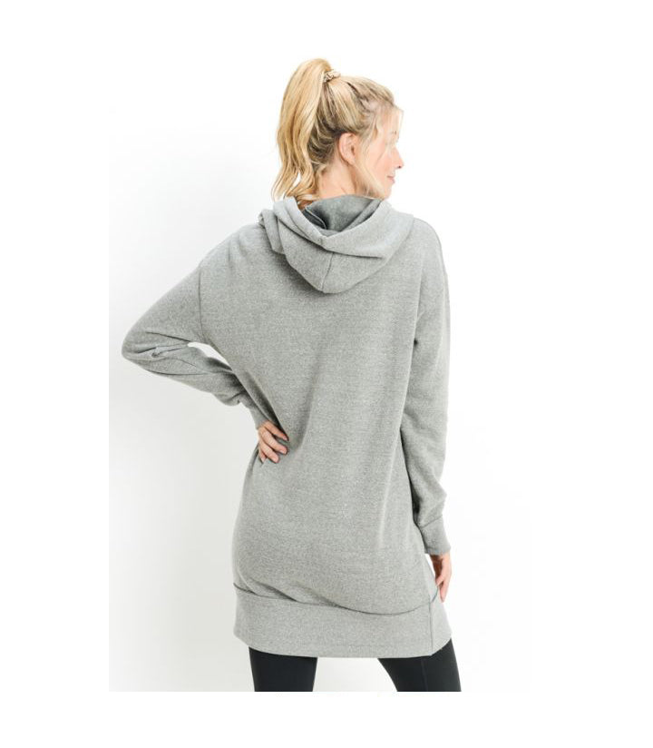 Hooded Fleece Sweater Dress Grey
