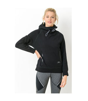 Turtle Neck Hoodie Pullover Jacket Black