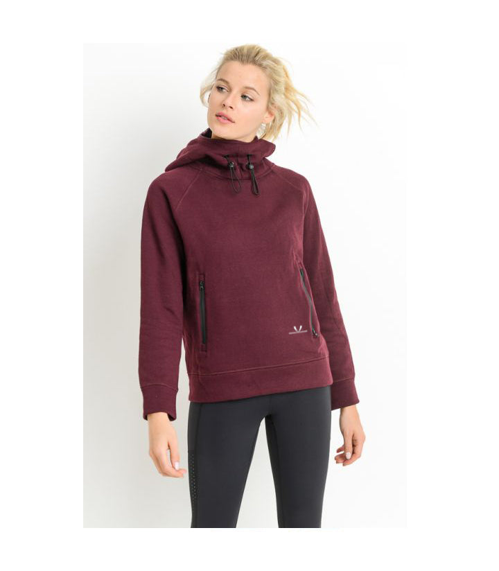 Turtle Neck Hoodie Pullover Jacket Burgundy
