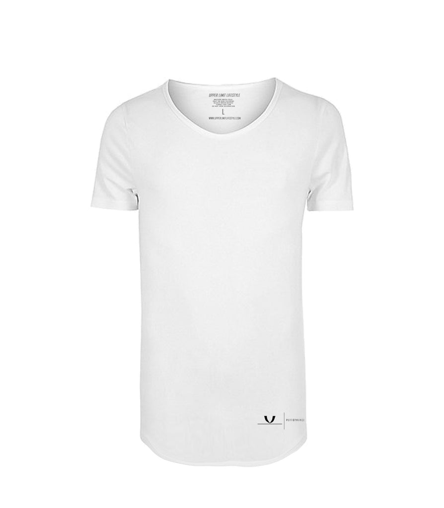 Performance White Curved Hem T-Shirt
