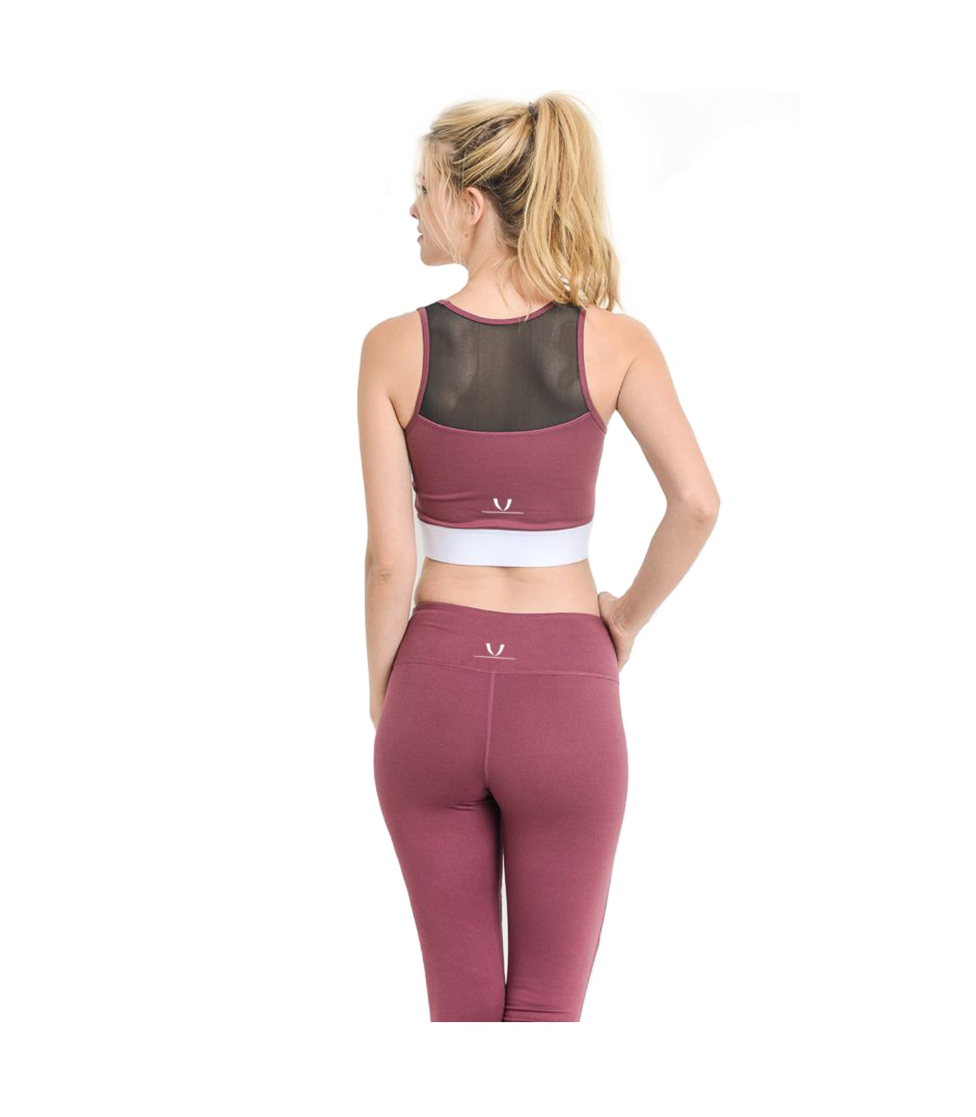 Block Mesh Performance Crop Top Deep Plum