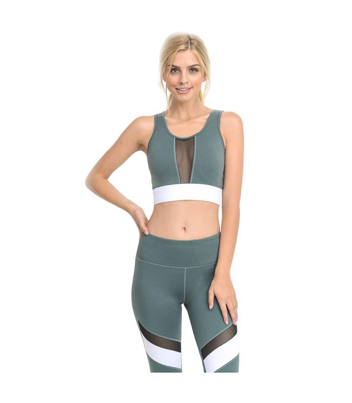 Block Mesh Performance Crop Top Teal
