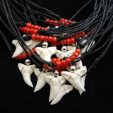 Shark hark tooth red glass beaded necklace c3