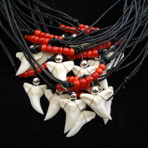 Blue shark red glass beaded necklace