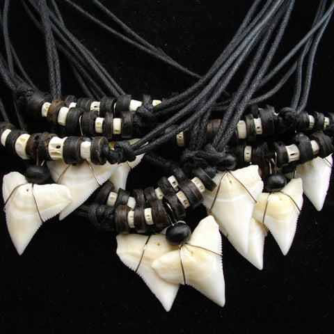 Bull Shark Large Upper Tooth Wood and Fish Bone Beaded Necklace