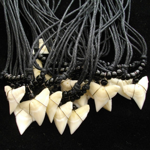 Bull Shark Upper Tooth Black Glass Beaded Necklace