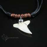 Blue Shark Tooth With Brown Glass Beaded Necklace
