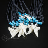 Shark tooth turquoise beaded necklace Australian souvenir c1