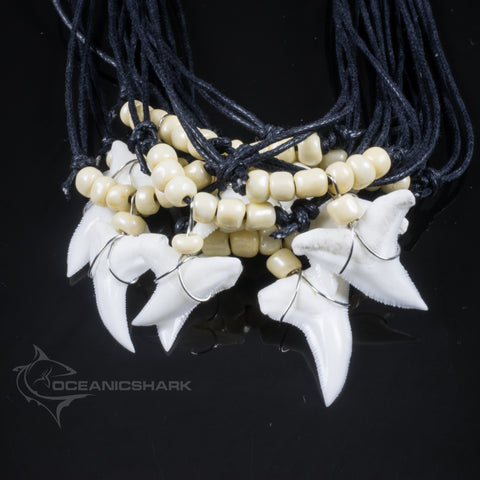 Real blue shark tooth cream off white glass seed beaded necklace c228