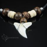 Shark tooth coconut wood beaded necklace beach surfing c114