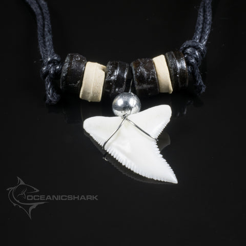 Shark teeth sale black + natural coloured wood beads c229