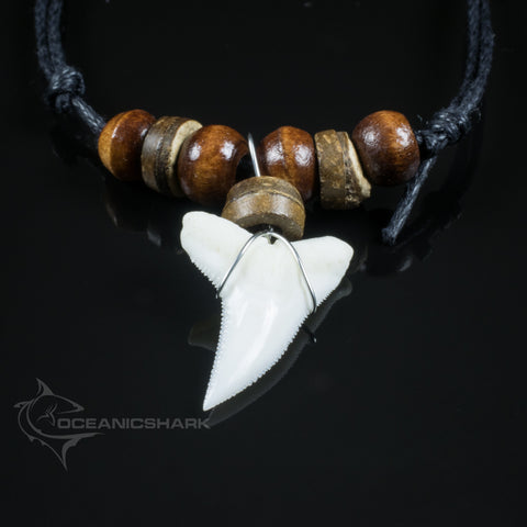 Blue shark tooth necklace wood beaded cord Australian souvenir c115