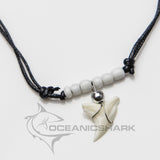 Blue shark teeth tooth necklace white chrome c10