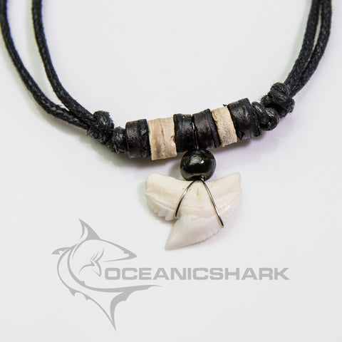 Tiger shark tooth wooden bead necklace souvenir c101