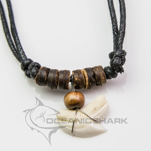 Tiger shark tooth wooden bead necklace Australian predator c102