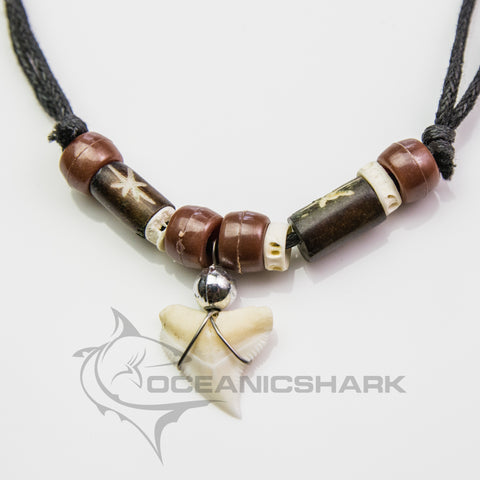 Bull shark tooth necklace cow fish bone brown bead c104