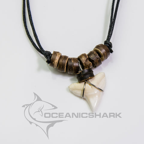 Bull shark tooth necklace coco nut wood beads surf c112