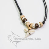 Blue shark teeth necklace dark light wood c117