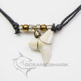 Blue Shark teeth necklace golden glass beads c138