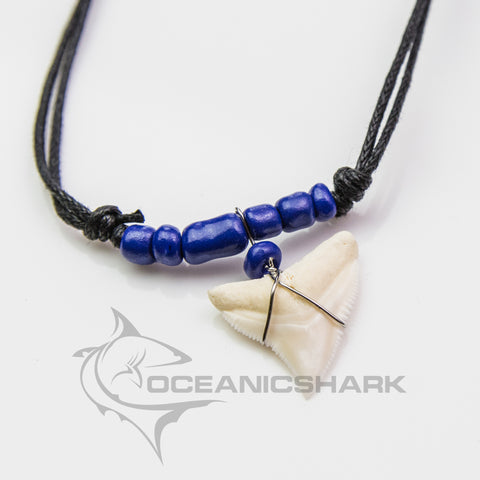 Bull shark tooth necklace deep dark blue glass beaded c141