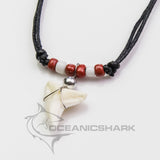 Blue shark cord necklace red white FC c144