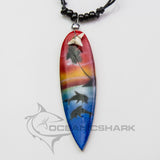 Sharks tooth surf board dolphin sunset palm tree c157