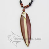 Sharks tooth surf board brown wood strip c168