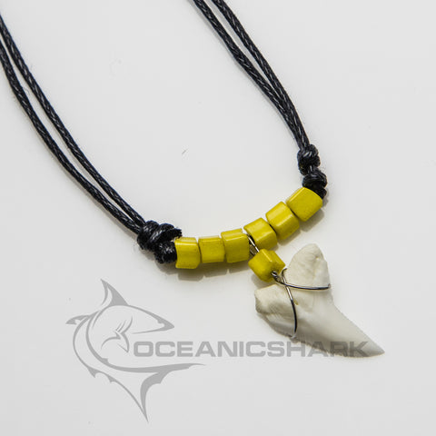 Blue shark tooth beach wear cord necklace pixel yellow beads c17
