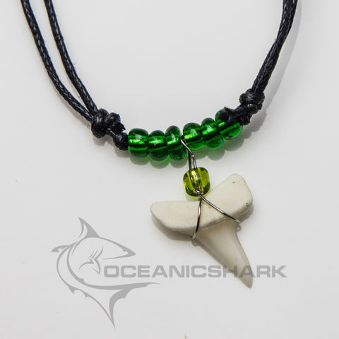 Mako shark teeth necklace for sale opaque green c19
