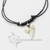 Blue shark tooth black bead necklace Australia souvenir c2