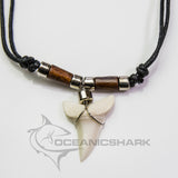 Large Mako shark tooth wood chrome coloured beads c200
