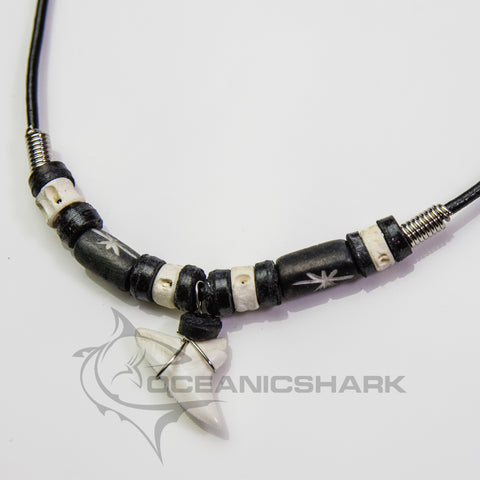Shark tooth necklace leather choker bone star carving c207