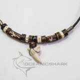 Shark's teeth necklace leather choker bone star carving c208