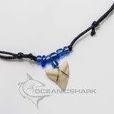 Bull shark teeth necklace electric blue neon c24
