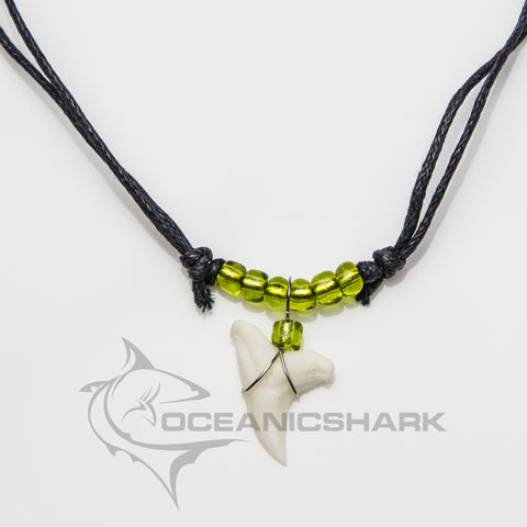 Shark teeth necklace neon light green glass bead c27