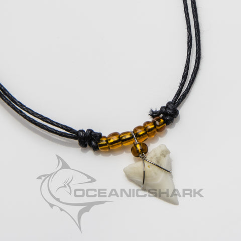 Shark teeth necklace brown amber glass bead c28