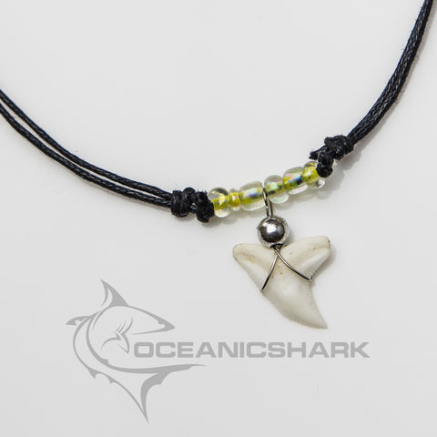 Shark teeth necklace neon yellow with purple tinge c30