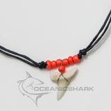 Mako shark teeth necklace for sale fluorescent orange c33