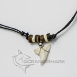 Shark teeth necklace coconut wood fish bone vertebrae c42